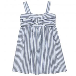 Φόρεμα ριγέ ποπλίνα με τιράντες (12 μηνών-5 ετών)