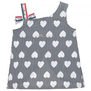 Μπλούζα με all over μοτίβο καρδιές και strass (2-5 ετών)