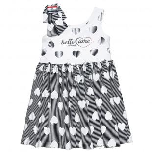 Φόρεμα με all over μοτίβο καρδιες και φιόγκο στις τιράντες (9 μηνών-5 ετών)