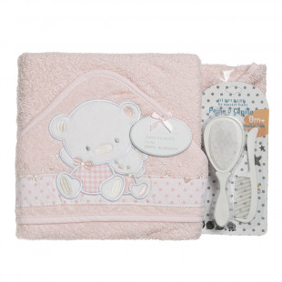 Set included bath towel, comb and brush