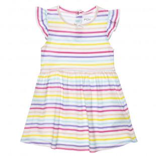 Φόρεμα με πολύχρωμες ρίγες και φιογκάκι (12 μηνών-3 ετών)
