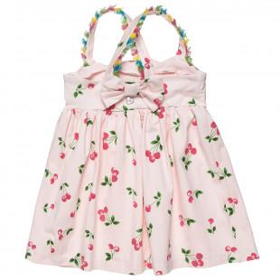 Φόρεμα με μοτίβο κερασάκια και βολάν (6 μηνών-5 ετών)