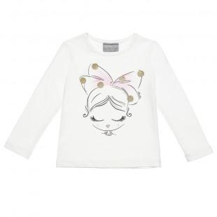 Μπλούζα με τύπωμα και glitter λεπτομέρειες (2-5 ετών)