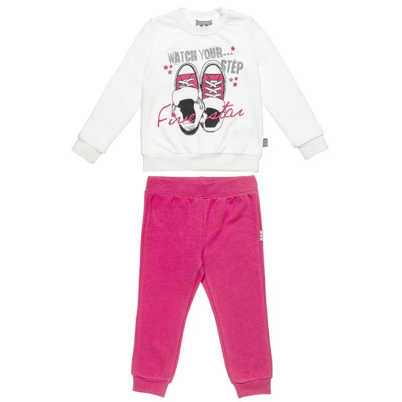Σετ Φόρμας Five Star μπλούζα με τύπωμα και glitter και παντελόνι (12 μηνών-5 ετών)