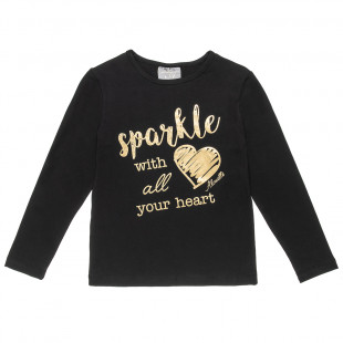 Blouse with foil print and lettering (6-16 years
