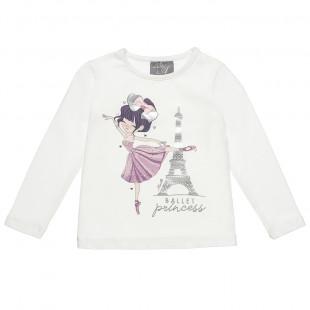 Μπλούζα με τύπωμα μπαλαρίνα και foil λεπτομέρειες (12 μηνών-5 ετών)