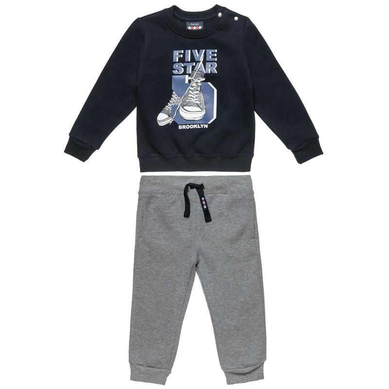 Σετ Five Star μπλούζα με ανάγλυφο τύπωμα και παντελόνι με τσέπες και λάστιχο (9 μηνών-5 ετών)