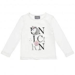 Μπλούζα με τύπωμα μονόκερο και πομ πον λεπτομέρεια (2-5 ετών)