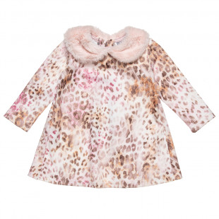 Φόρεμα με λεοπάρ μοτίβο και γούνινο γιακά (9 -18 μηνών)