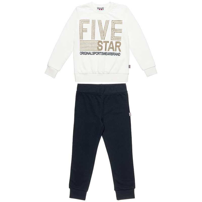 Set Five Star blouse with printed gliter and pants (6-14 years)