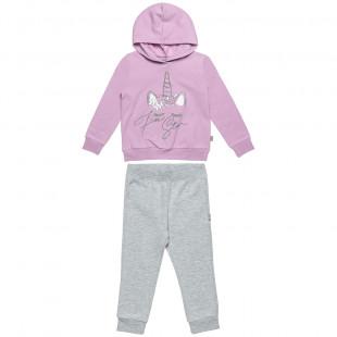 Σετ Φόρμας Five Star μπλούζα με glitter και κουκούλα και παντελόνι με λάστιχο (12 μηνών-5 ετών)
