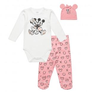 Σετ Mickey & Minnie Mouse μπλούζα με παντελονάκι και σκουφάκι (3-9 μηνών)