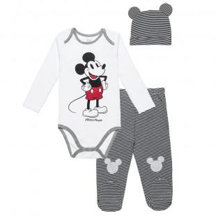 Σετ Disney Mickey Mouse μπλούζα με τρουκς παντελονάκι και σκουφάκι