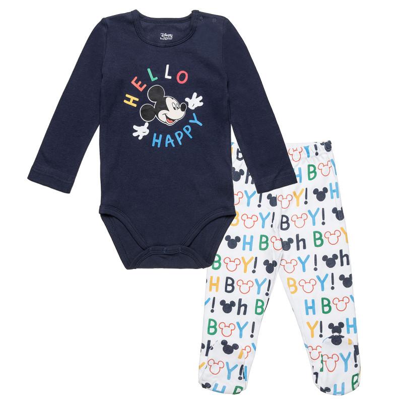 Σετ Disney Mickey Mouse μπλούζα με τρουκς και παντελονάκι (3-12 μηνών)