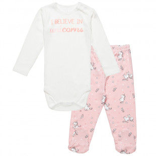 Σετ μπλούζα με τρουκς και παντελόνι με μονόκερους (3-12 μηνών)