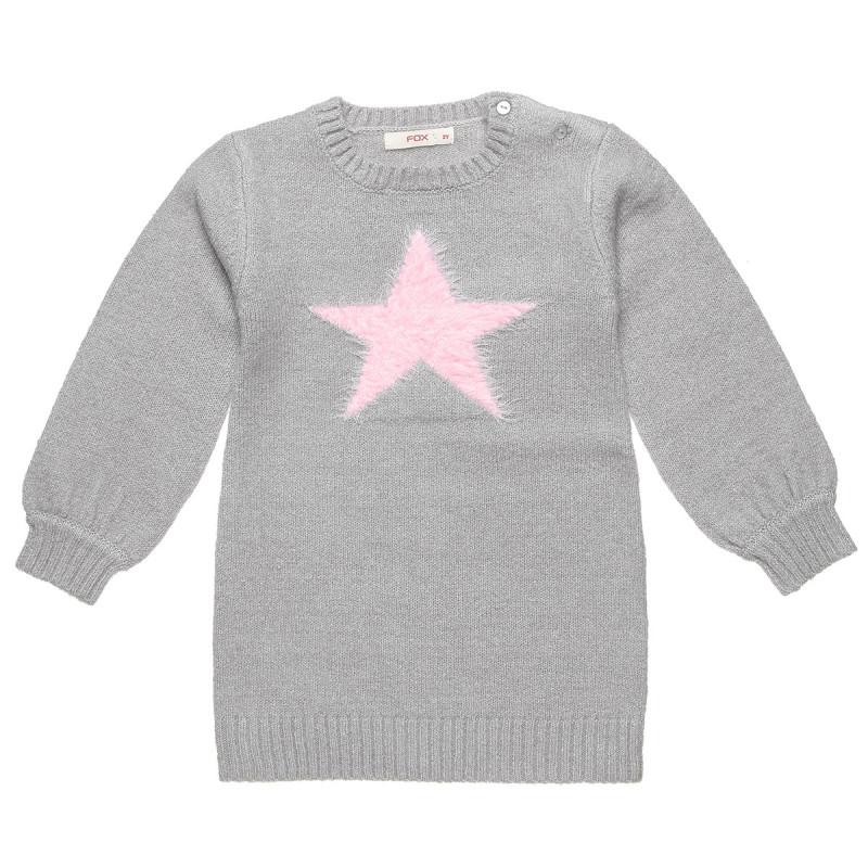 Φόρεμα πλεκτό με σχέδιο αστέρι (12 μηνών-3 ετών)