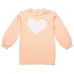 Φόρεμα πλεκτό με κέντημα καρδιά (12 μηνών-3 ετών)