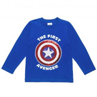 Mπλούζα Captain America με κέντημα (4-12 ετών)