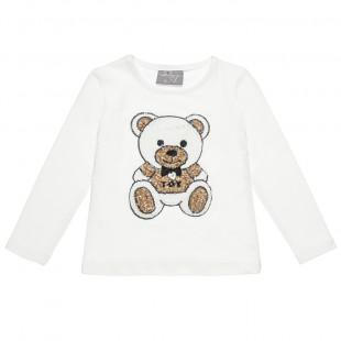 Μπλούζα με πλεκτό σχέδιο αρκουδάκι (18 μηνών-4 ετών)