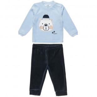 Σετ βελουτέ μπλούζα με τύπωμα αρκουδάκι και παντελονάκι με λάστιχο (3-18 μηνών)