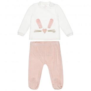 Σετ βελουτέ μπλούζα με αυτάκια και παντελονάκι με λάστιχο (3-18 μηνών)