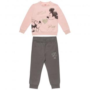Σετ Φόρμας Mickey & Minnie Mouse μπλούζα με glitter και παντελόνι (12 μηνών-5 ετών)