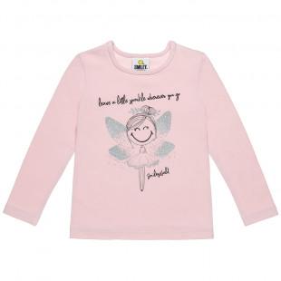 Μπλούζα Smiley με τύπωμα και glitter (12 μηνών-3 ετών)