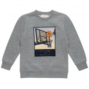 Μπλούζα φούτερ με σχέδιο μπασκέτα (6-16 ετών)