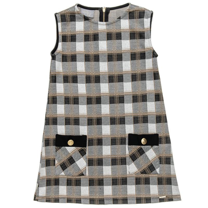 Φόρεμα καρό με τσέπες και διακοσμητικά κουμπιά (6-14 ετών)