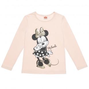 Μπλούζα Minnie Mouse με τύπωμα και παγιέτα (2-5 ετών)