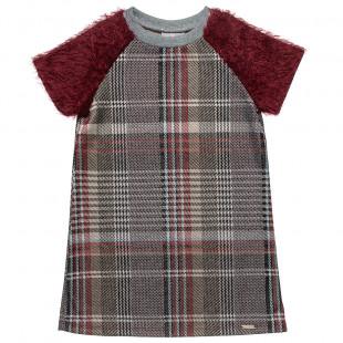 Φόρεμα καρό με μοχέρ μανίκια (6-14 ετών)