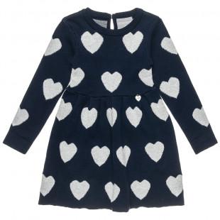 Φόρεμα πλεκτό με μοτίβο καρδούλες (2-5 ετών)