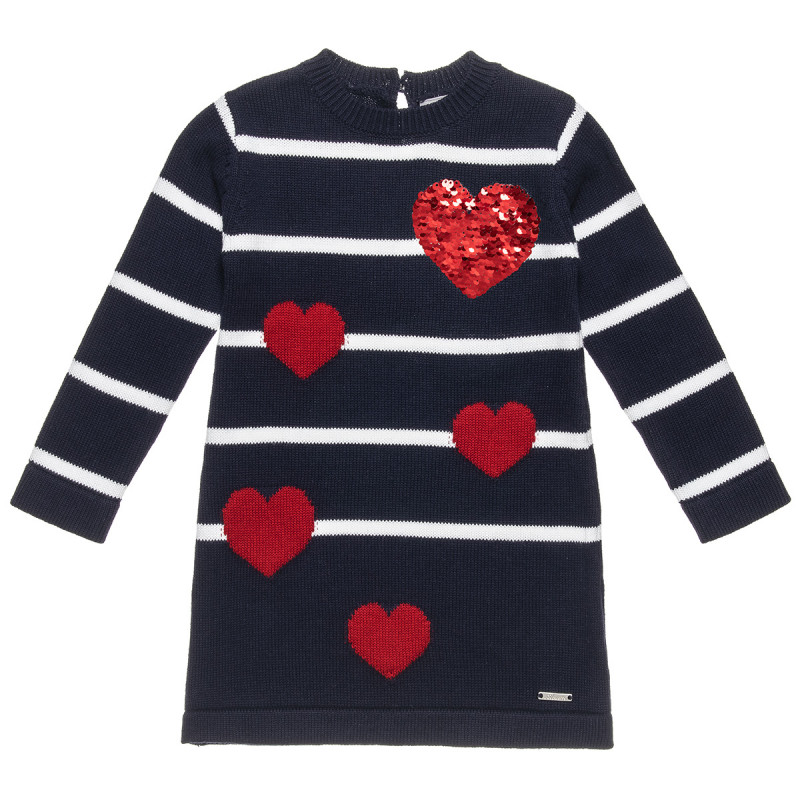 Φόρεμα πλεκτό με διπλή παγιέτα και καρδιές (2-5 ετών)