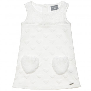 Dress with hearts motive all over (9 months-5 years
