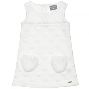 Φόρεμα με μοτίβο καρδιές και λεπτομέρειες γούνα προβατάκι (9 μηνών-5 ετών)