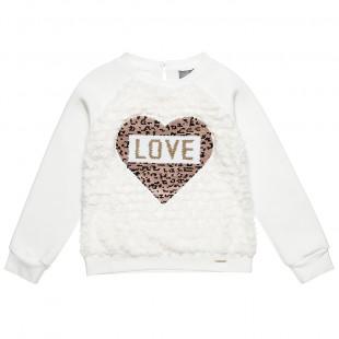Μπλούζα με γούνινες λεπτομέρειες και διπλή παγιέτα καρδιά (6-14 ετών)