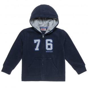 """Ζακέτα Moovers fleece με κουκούλα και κέντημα """"76""""  (18 μηνών-5 ετών)"""