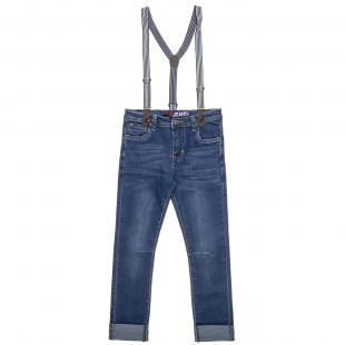 Παντελόνι τζιν με αποσπώμενες τιράντες και ρεβέρ στο τελείωμα (6-16 ετών)
