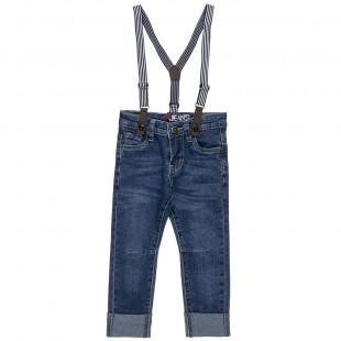 Παντελόνι τζιν με αποσπώμενες τιράντες και ρεβέρ στο τελειώμα (12 μηνών-5 ετών)
