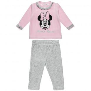 Σετ Disney Minnie Mouse μπλούζα με κέντημα και παντελονάκι με λάστιχο (3-18 μηνών)
