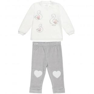 Σετ μπλούζα βελουτέ με κύκνους και παντελονάκι (3-18 μηνών)