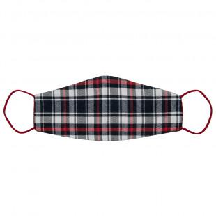 Mask fabric checkered red (8-16 years)