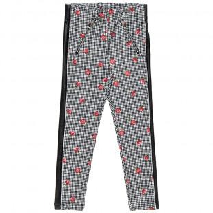 Παντελόνι με φλοράλ μοτίβο και δερμάτινες λεπτομέρειες (6-14 ετών)