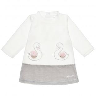 Φόρεμα με κέντημα κύκνους και πομ πον (6-18 μηνών)