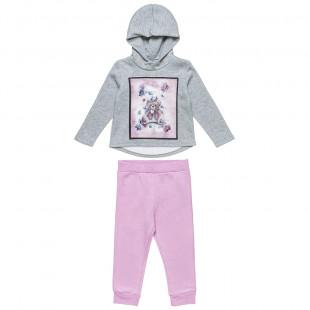 Σετ μπλούζα με 3D print και κουκούλα και παντελονάκι (2-5 ετών)
