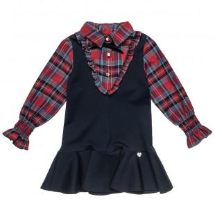 Φόρεμα με καρό επένδυση και βολάν στο τελείωμα (12 μηνών-5 ετών)
