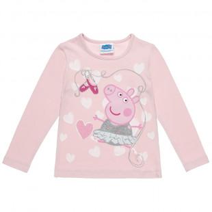 Μπλούζα Peppa Pig με τύπωμα και glitter (2-5 ετών)
