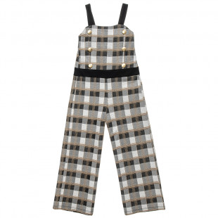 Overall checkered with buttons and golden details (6-12 years)