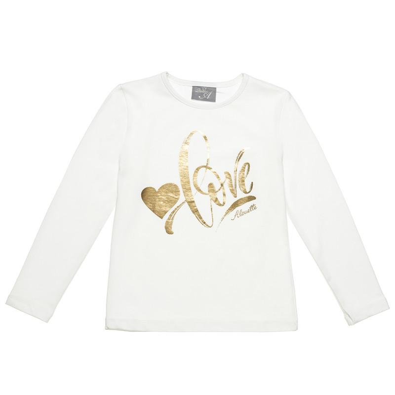 """Μπλούζα με μεταλλιζέ foil τύπωμα """"love"""" (6-16 ετών)"""