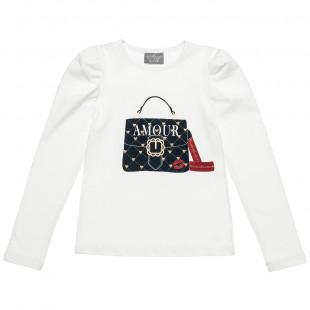 """Μπλούζα με τύπωμα και lettering """"amour"""" (6-16 ετών)"""